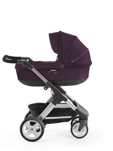Stokke® Trailz™ with Stokke® Stroller Carry Cot, Purple. Classic Wheels.
