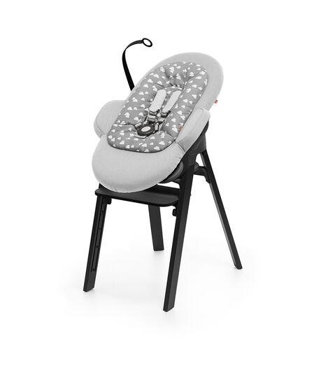 Stokke® Steps™ Oak Black with Black Seat and footrest. Bouncer Grey Clouds.