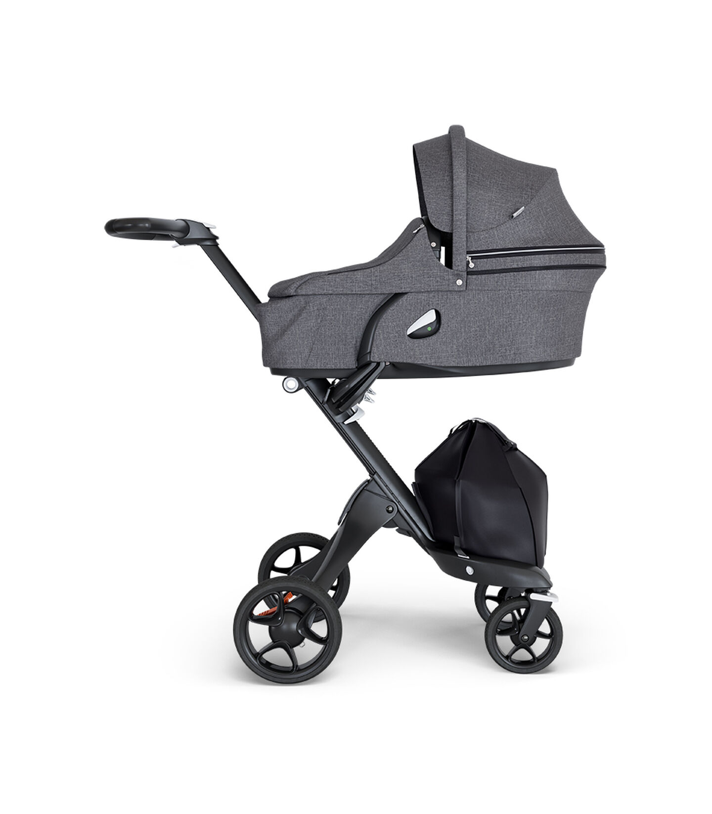 Stokke® Xplory® wtih Black Chassis and Leatherette Black handle. Stokke® Stroller Carry Cot Black Melange.