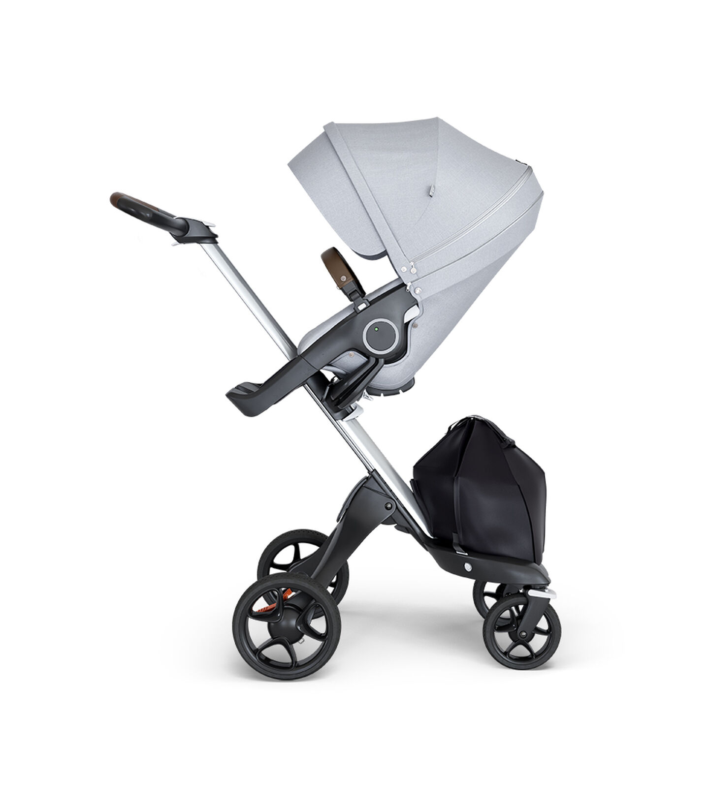 Stokke® Xplory® wtih Silver Chassis and Leatherette Brown handle. Stokke® Stroller Seat Grey Melange. view 2