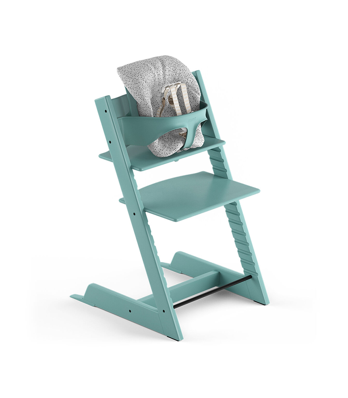 Tripp Trapp® Aqua Blue, Beech. With Tripp Trapp® Baby Set and Baby Cushion Cloud Sprinkle. US version with Harness.