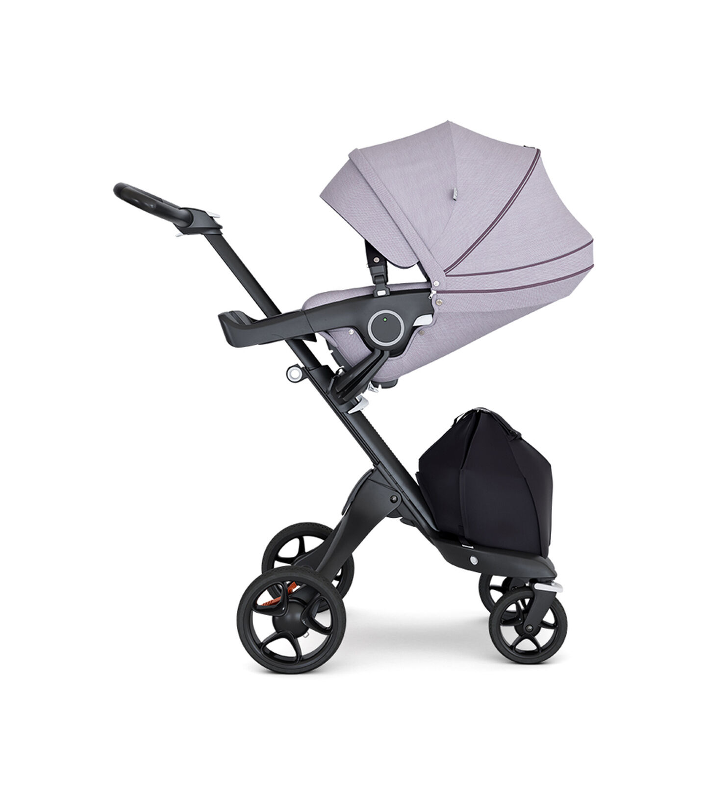 Stokke® Xplory® with Black Chassis and Leatherette Black handle. Stokke® Stroller Seat Brushed Lilac with extended canopy.