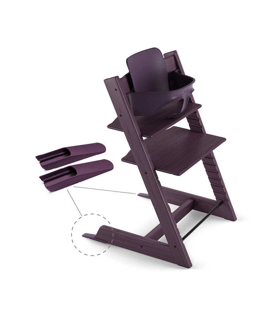 Tripp Trapp® Chair Plum Purple, Beech, with Baby Set.