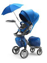 Stokke® Xplory® with Stokke® Stroller Seat, Cobalt Blue.