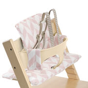 Tripp Trapp® Natural with Baby Set and Pink Chevron cushion. US version. Detail.