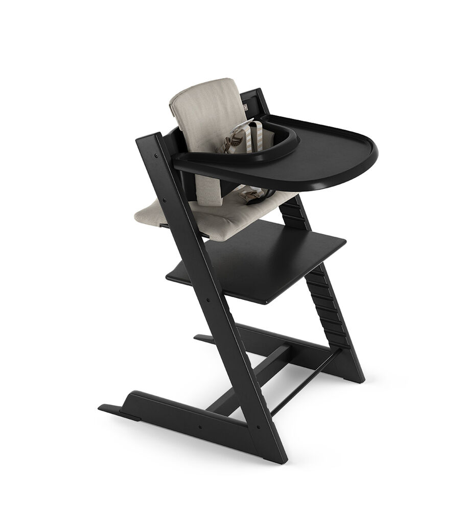 Tripp Trapp® Black with Baby Set, Stokke® Tray Black and Classic Cushion Timeless Grey. US version.