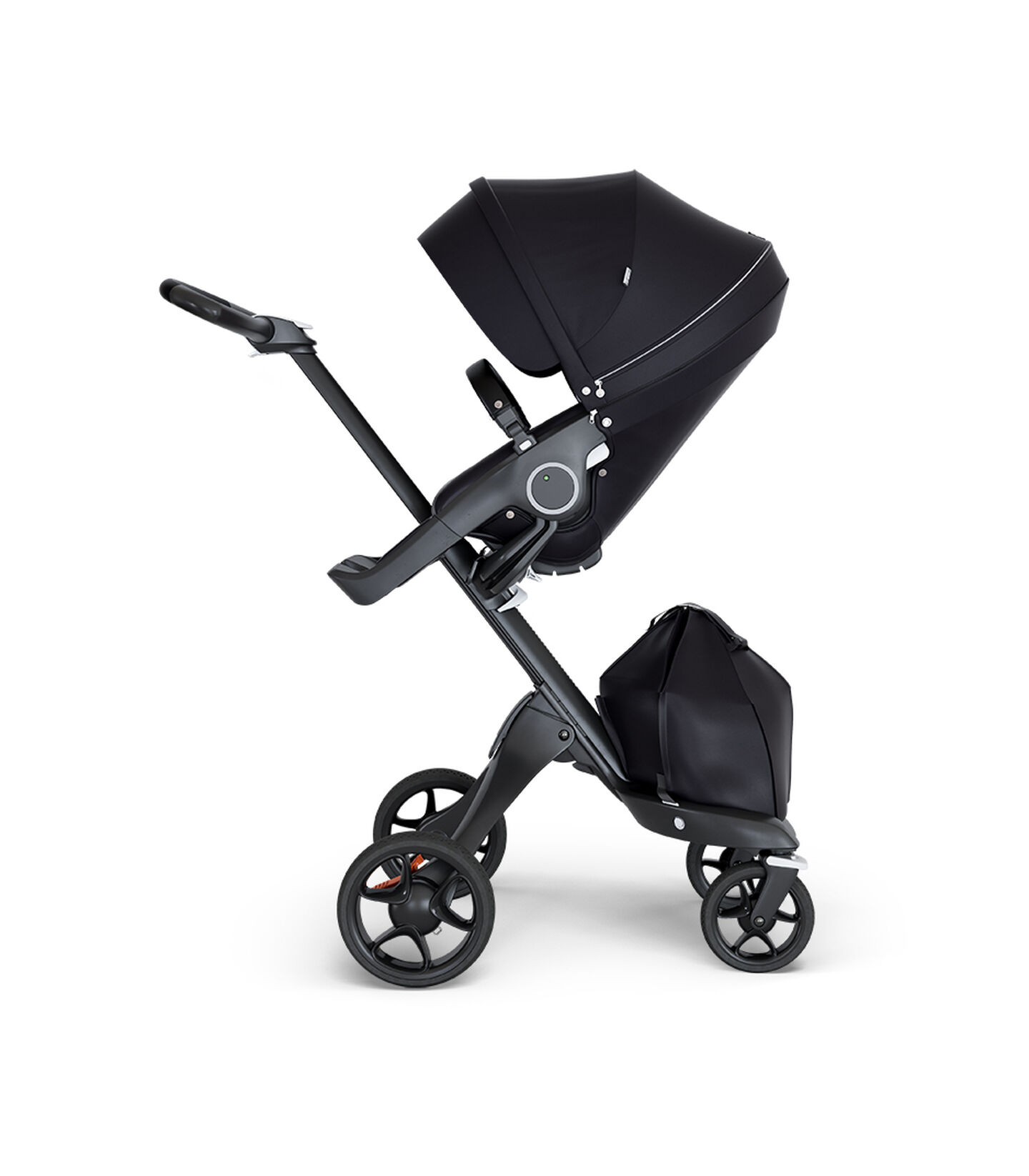 Stokke® Xplory® wtih Black Chassis and Leatherette Black handle. Stokke® Stroller Seat Black.