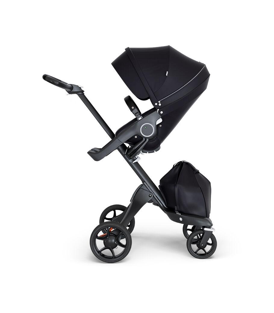 Stokke® Xplory® wtih Black Chassis and Leatherette Black handle. Stokke® Stroller Seat Black.