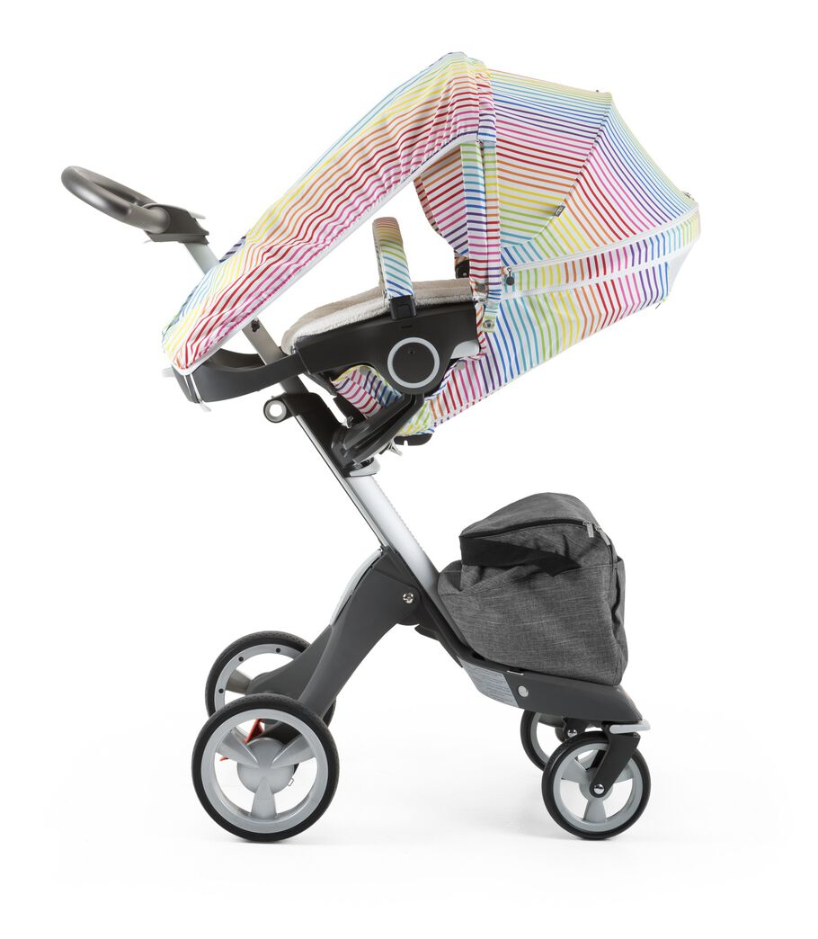 Stokke® Xplory® with Stokke® Stroller Seat and Multi Stripe Summer Kit.