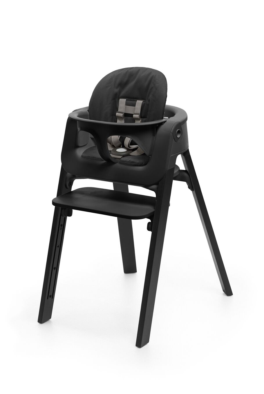 Stokke® Steps™ Chair Oak Black, with Baby Set White and Cushion Soft Sprinkle