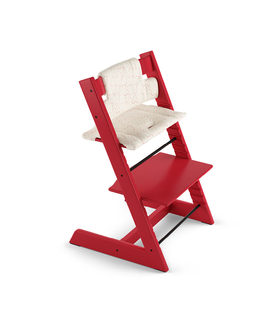 Tripp Trapp® Red with Classic Cushion Geometric Red.
