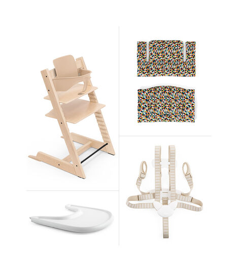Tripp Trapp® Natural with Baby Set, Stokke® Tray and Classic Cushion HoneyComb Happy. USA.