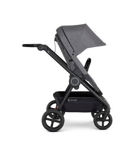 Stokke® Beat™ with Seat. Black Melange. Forward facing.
