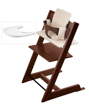 tripp trapp bundle walnut with beige stripe cushion accessories stokke. Black Bedroom Furniture Sets. Home Design Ideas