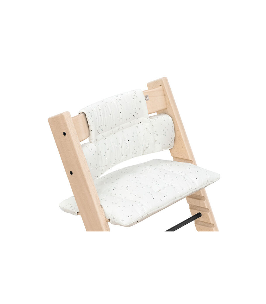 Tripp Trapp® chair Natural, Beech Wood, with Classic Cushion Sweet Hearts. US version.