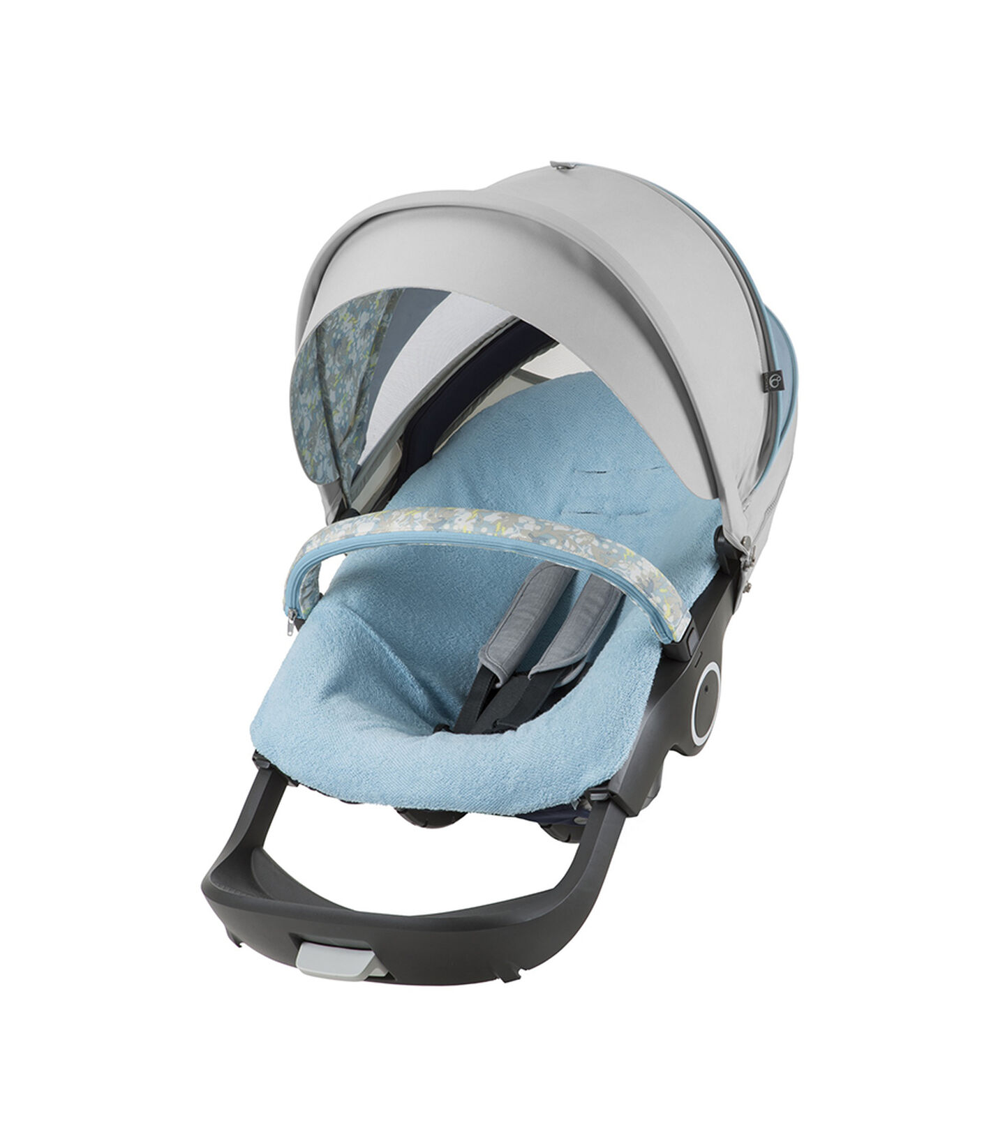 Stokke® Stroller seat with Flora Blue Summer Kit.
