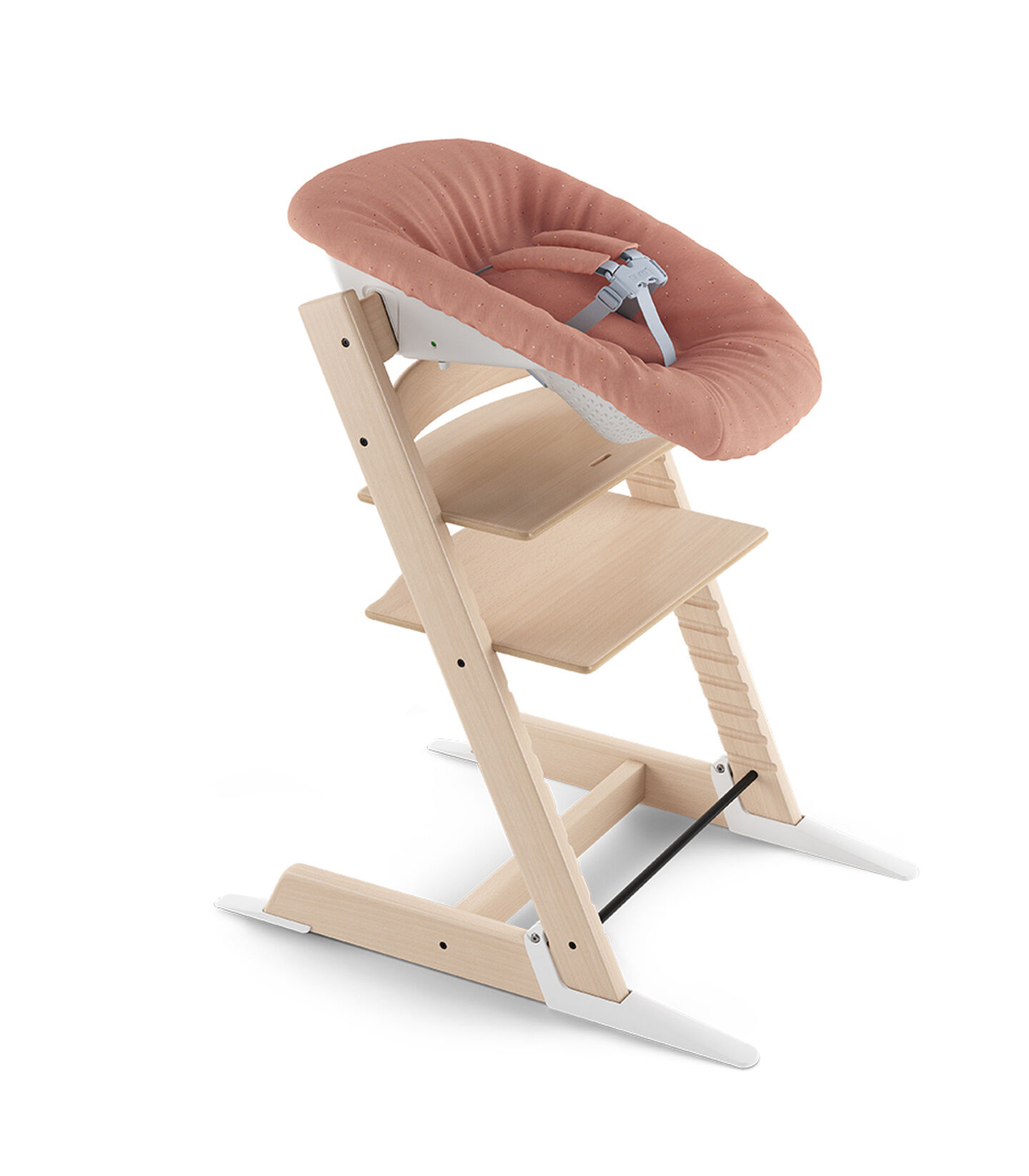 Tripp Trapp® Natural and Tripp Trapp® Newborn Set with Coral Confetti  textiles. Active position. US version.