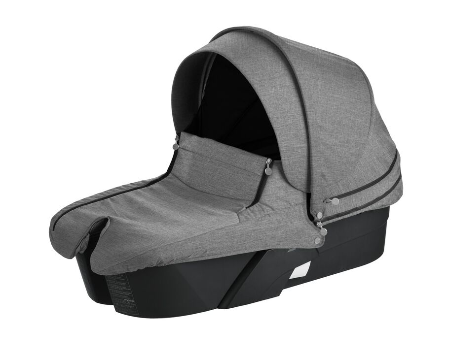 Stokke® Xplory® Carry Cot Black with Black Melange Textile Set.