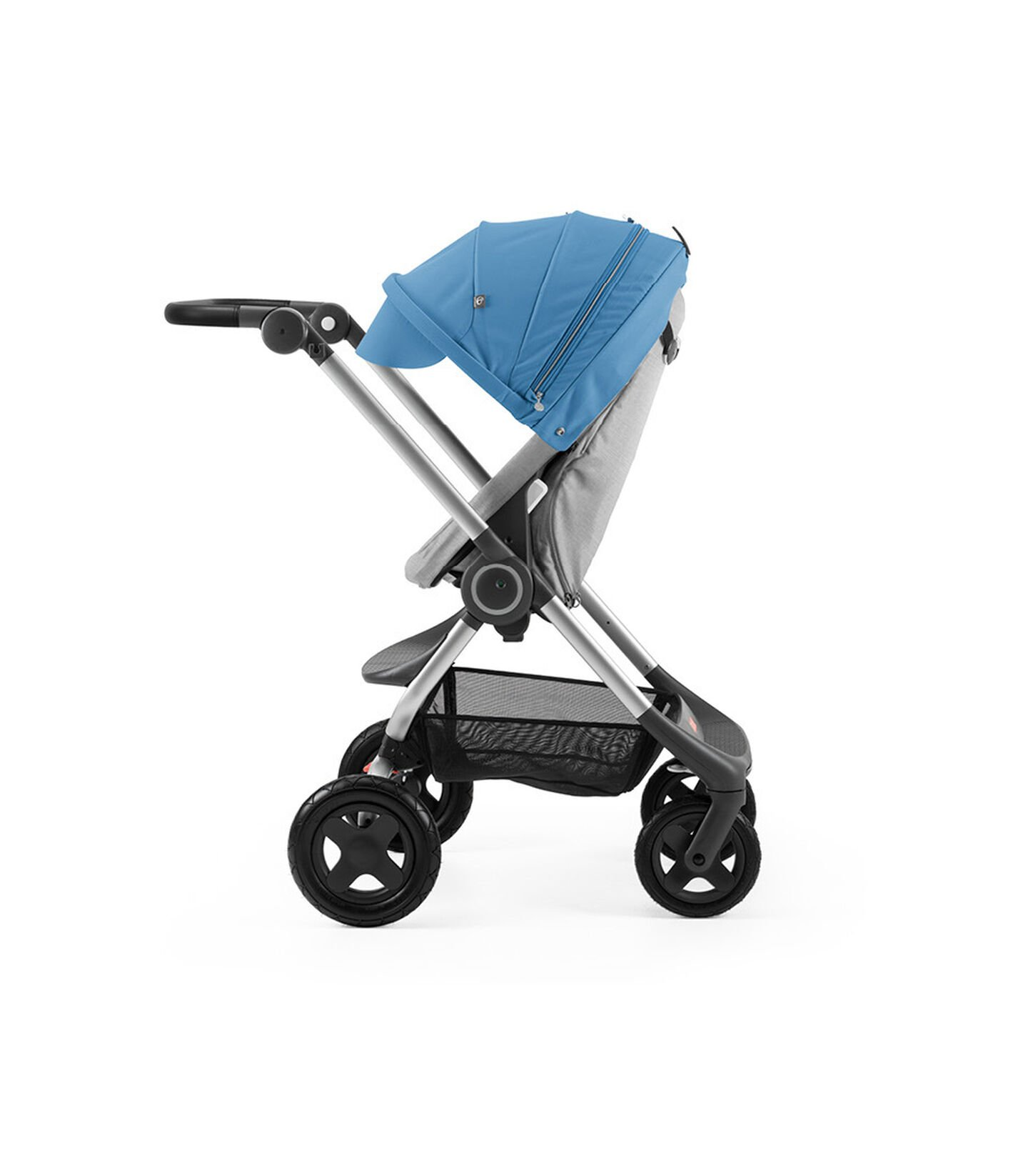 Stokke® Scoot™ Grey Melange with Blue Canopy. Parent facing, active position.