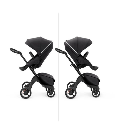 Stokke® Xplory X with seat, Rich Black. Parent and forward facing. view 6