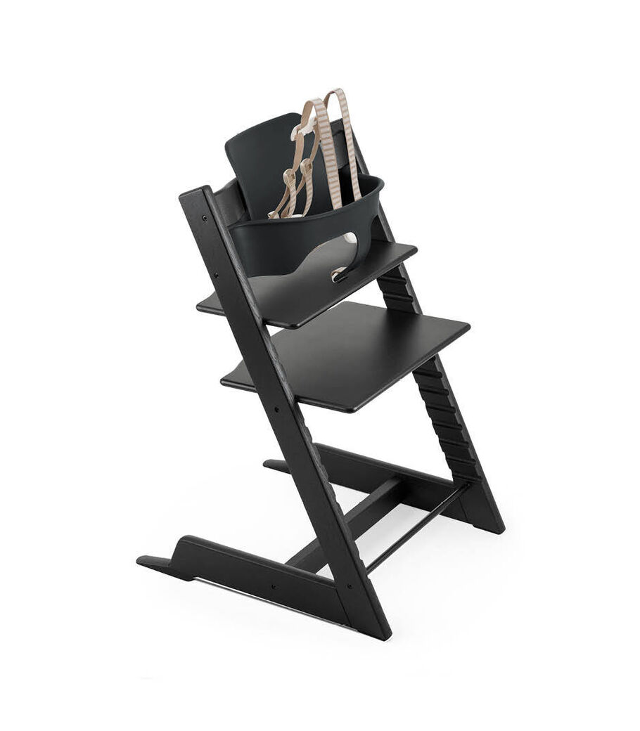 Tripp Trapp® Oak Black with Baby Set Black and Harness. Extended Glider, Black. US version.