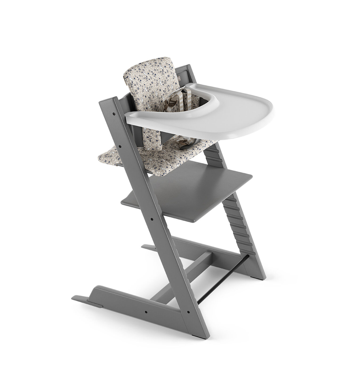 Tripp Trapp® Storm Grey with Baby Set, Stokke® Tray White and Classic Cushion Garden Bunny. US version.