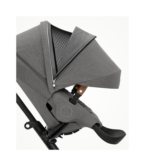 Stokke® Xplory® X Modern Grey Stroller with Seat Forward Facing.  Extended Canopy Open . view 4