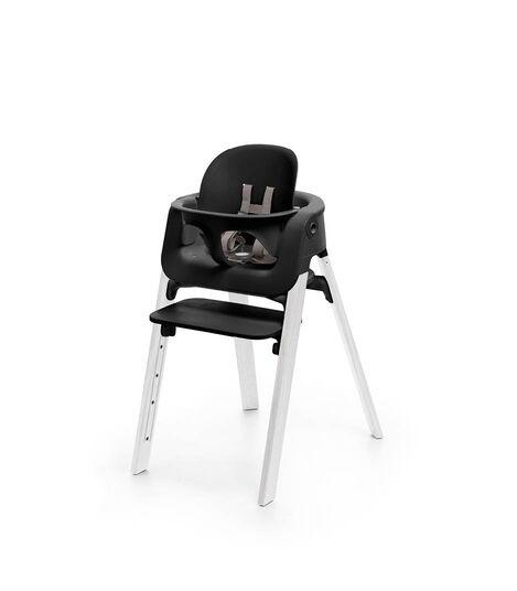Stokke® Steps™ Chair Black Seat Oak White Legs, Oak White, mainview view 2