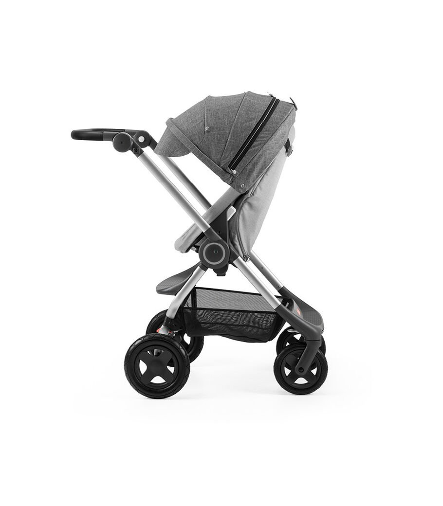 Stokke® Scoot™ Grey Melange with Black Melange Canopy. Parent facing, active position.