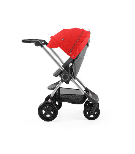 Stokke® Scoot™ Black Melange with Red Canopy. Parent facing, active position.