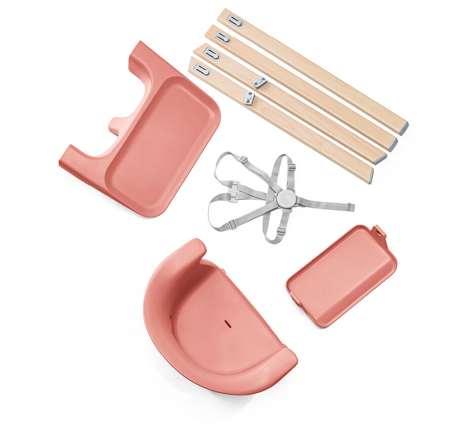 Stokke® Clikk™ High Chair. Natural Beech wood and Sunny Coral plastic parts. What's included overview.