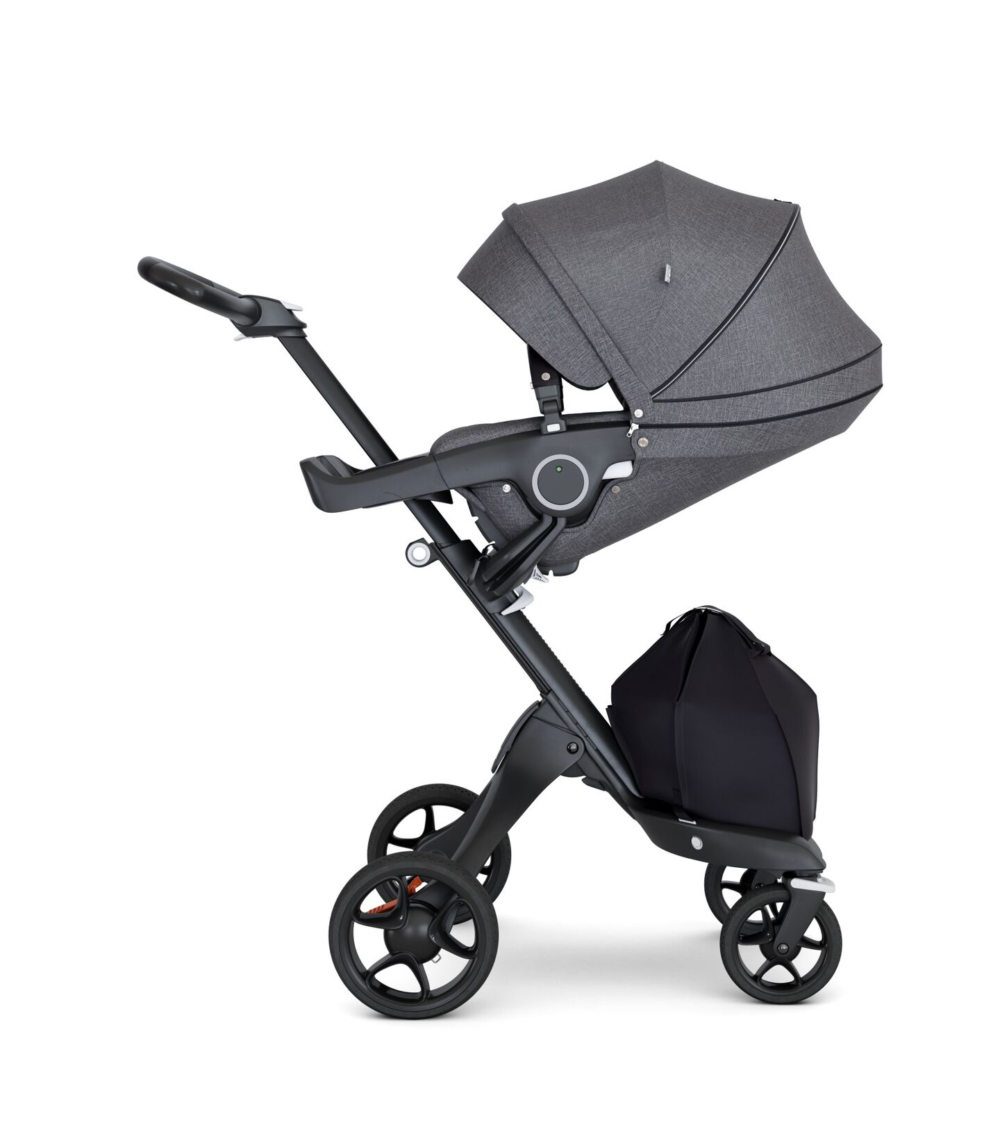 Stokke® Xplory® with Black Chassis and Leatherette Black handle. Stokke® Stroller Seat Black Melange with extended canopy.