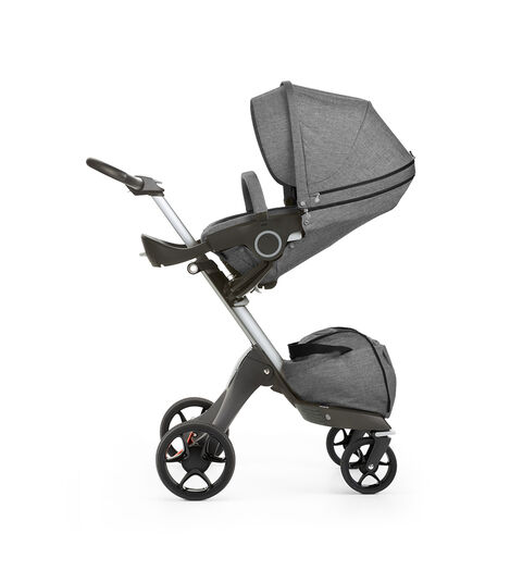 Stokke® Xplory® with Stokke® Stroller Seat, parent facing, sleep position. Black Melange. New wheels 2016.