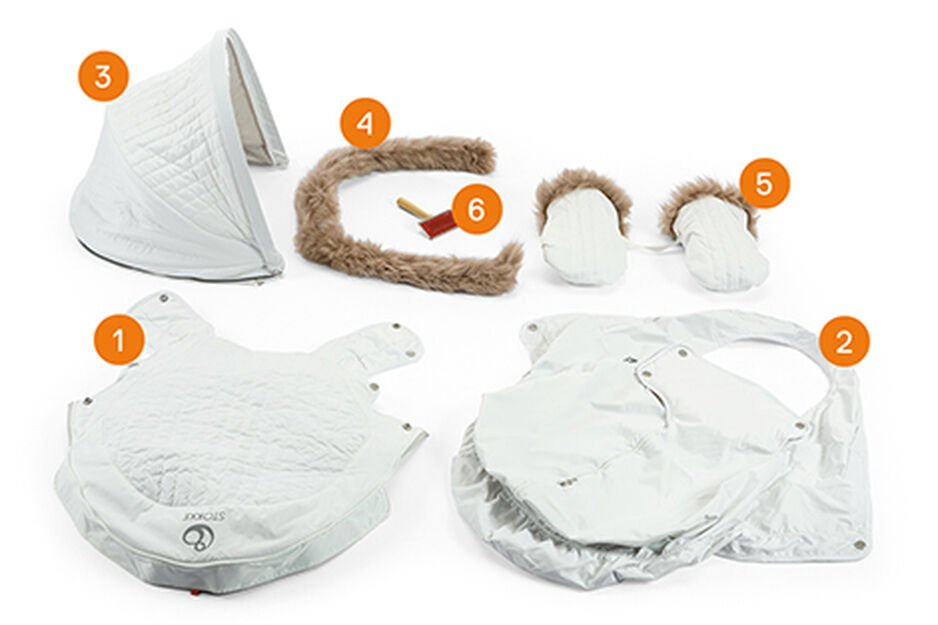 Stokke® Stroller Winter Kit. Items included.