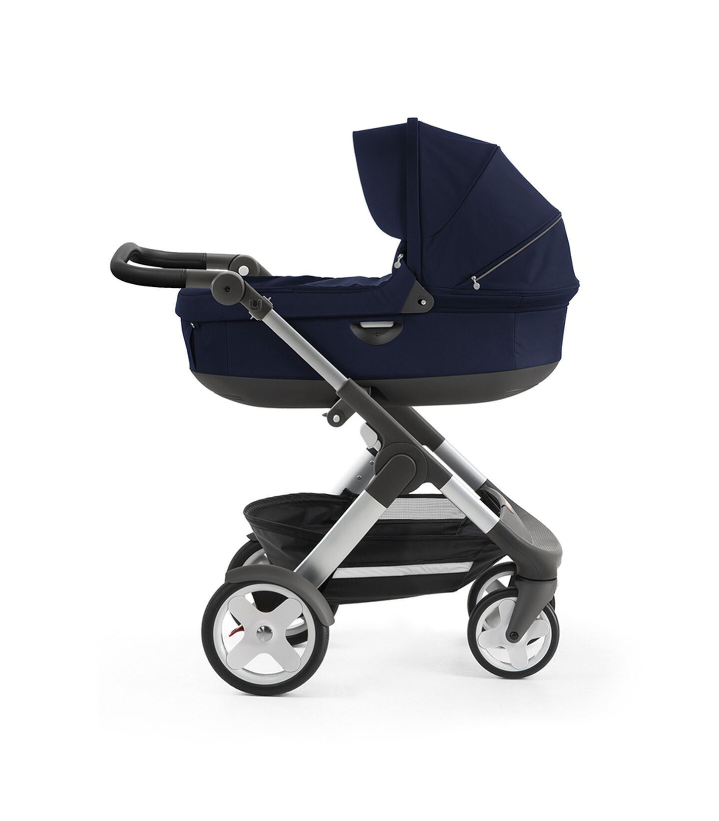 Stokke® Trailz™ with silver chassis and Stokke® Stroller Carry Cot, Deep Blue. Classic Wheels.