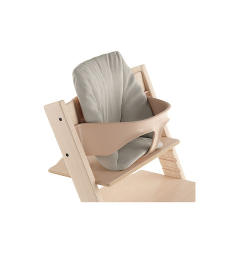 Tripp Trapp® Natural with Baby Set and Baby Cushion Timeless Grey. Close-up.