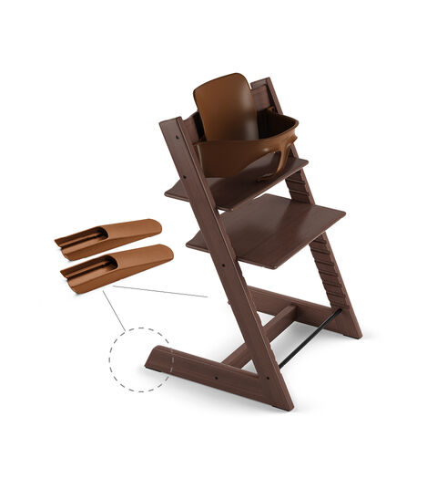 Tripp Trapp® Chair Walnut Brown, Beech, with Baby Set. view 2