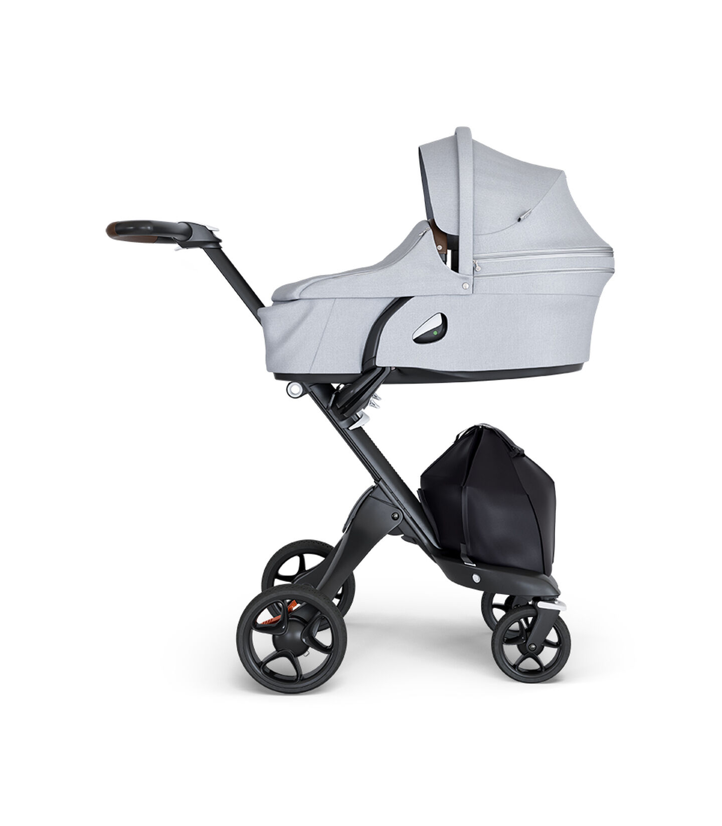Stokke® Xplory® wtih Black Chassis and Leatherette Brown handle. Stokke® Stroller Carry Cot Grey Melange.