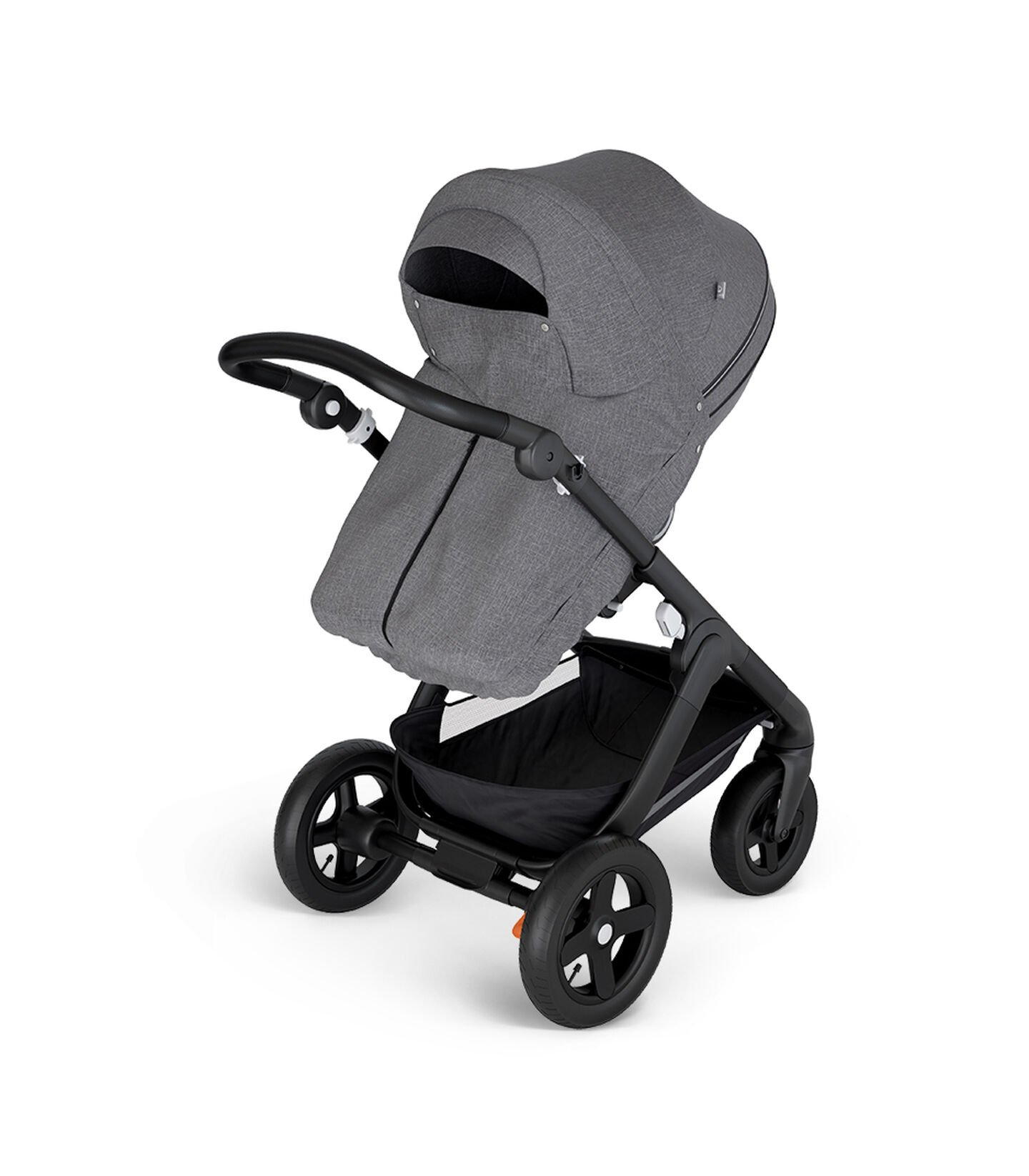 Stokke® Trailz™ with Black Chassis and Stokke® Stroller Seat Black Melange. Stokke® Stroller Storm Cover, Black Melange.