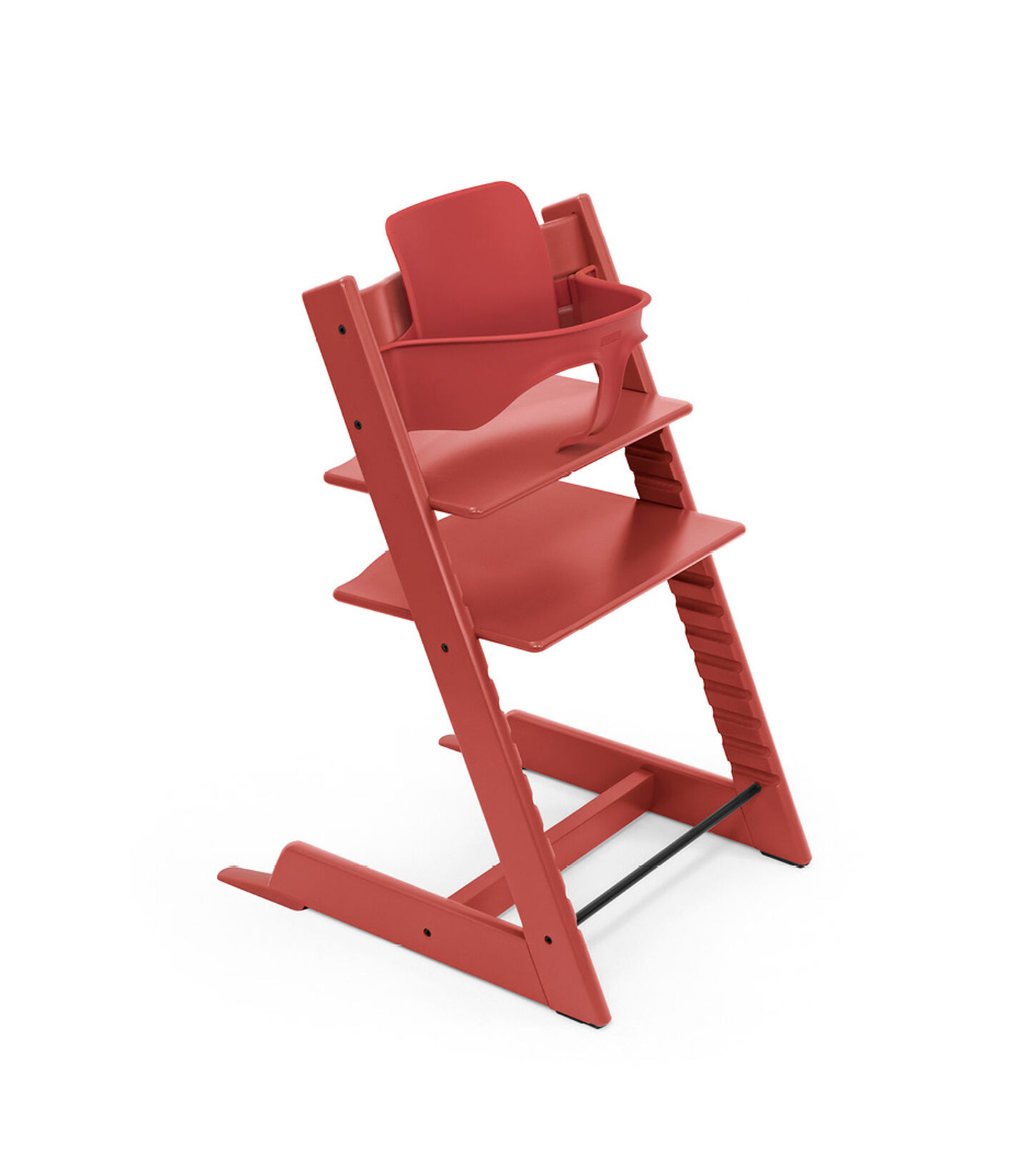 Tripp Trapp® Chair Warm Red, Beech, with Baby Set. view 2