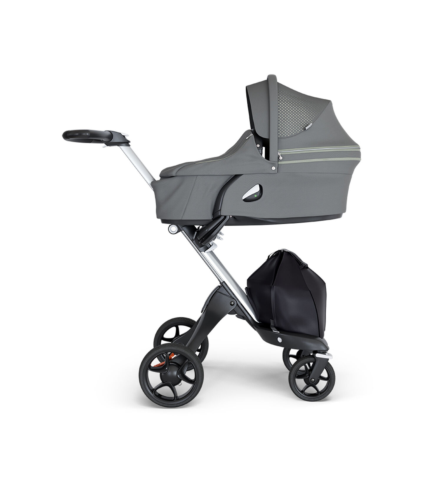 Stokke® Xplory® wtih Silver Chassis and Leatherette Black handle. Stokke® Stroller Carry Cot Athleisure Green.