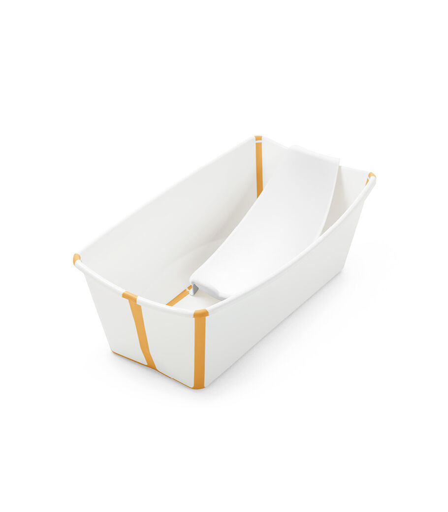 Stokke® Flexi Bath® bath tub, White and Yellow with Newborn insert.