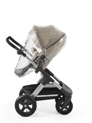 Stokke® Trailz™ with Stokke® Stroller Seat Beige Melange. Rain Cover.