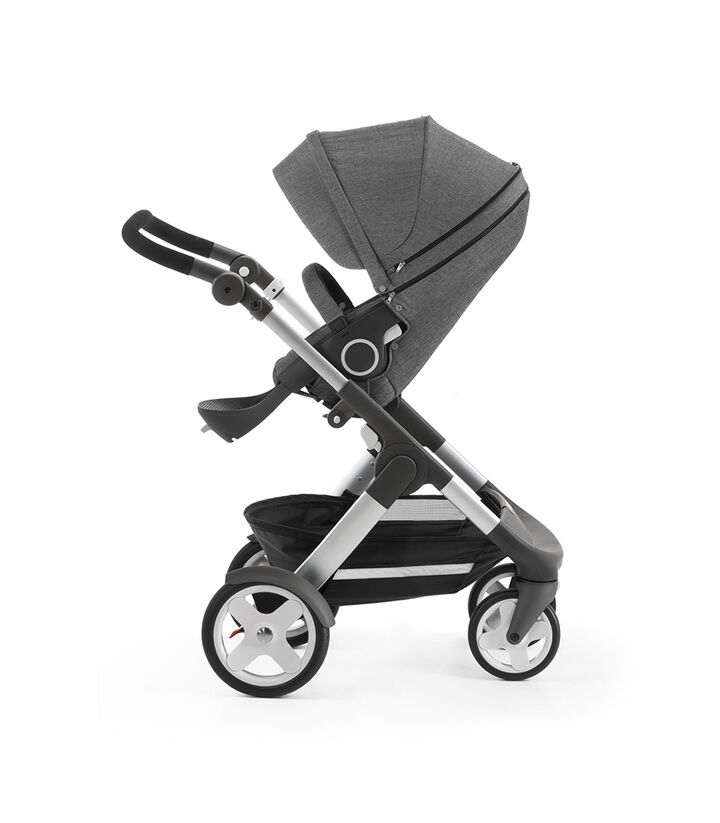 Stokke® Trailz™ with Stokke® Stroller Seat, Black Melange. Classic Wheels.
