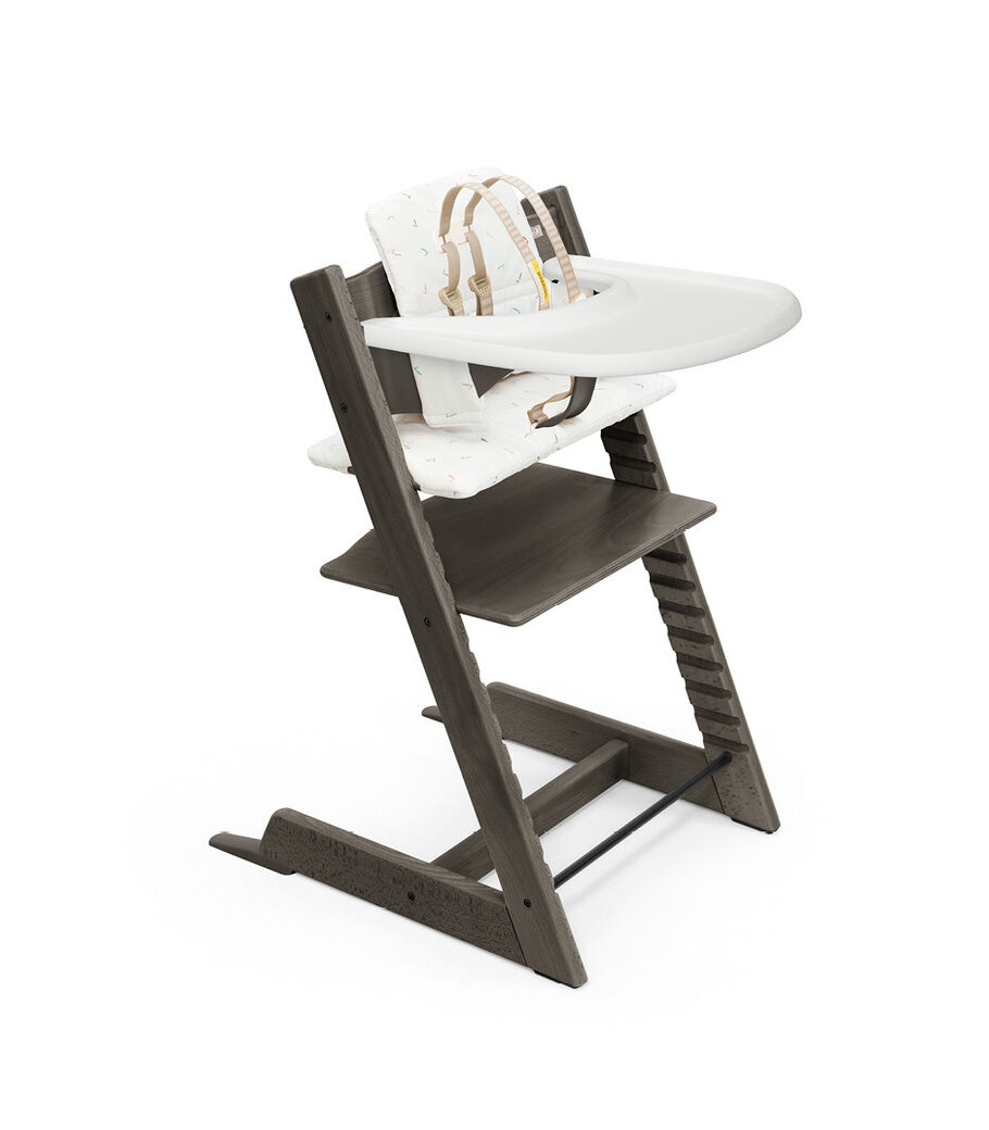 Tripp Trapp® High Chair Hazy Grey with Baby Set, Classic Cushion Icon Multicolor and Stokke® Tray. Bundle. US only.