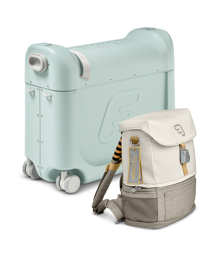JetKids™ by Stokke® Crew BackPack, Full Moon and BedBox V3, Green Aurora. Japan bundle.