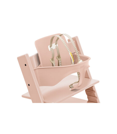 Tripp Trapp® Chair Serene Pink with Baby Set. Close-up. US with Harness. view 10