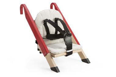 Portable child seat, Red, accessorised with Beige Stripe cushion.