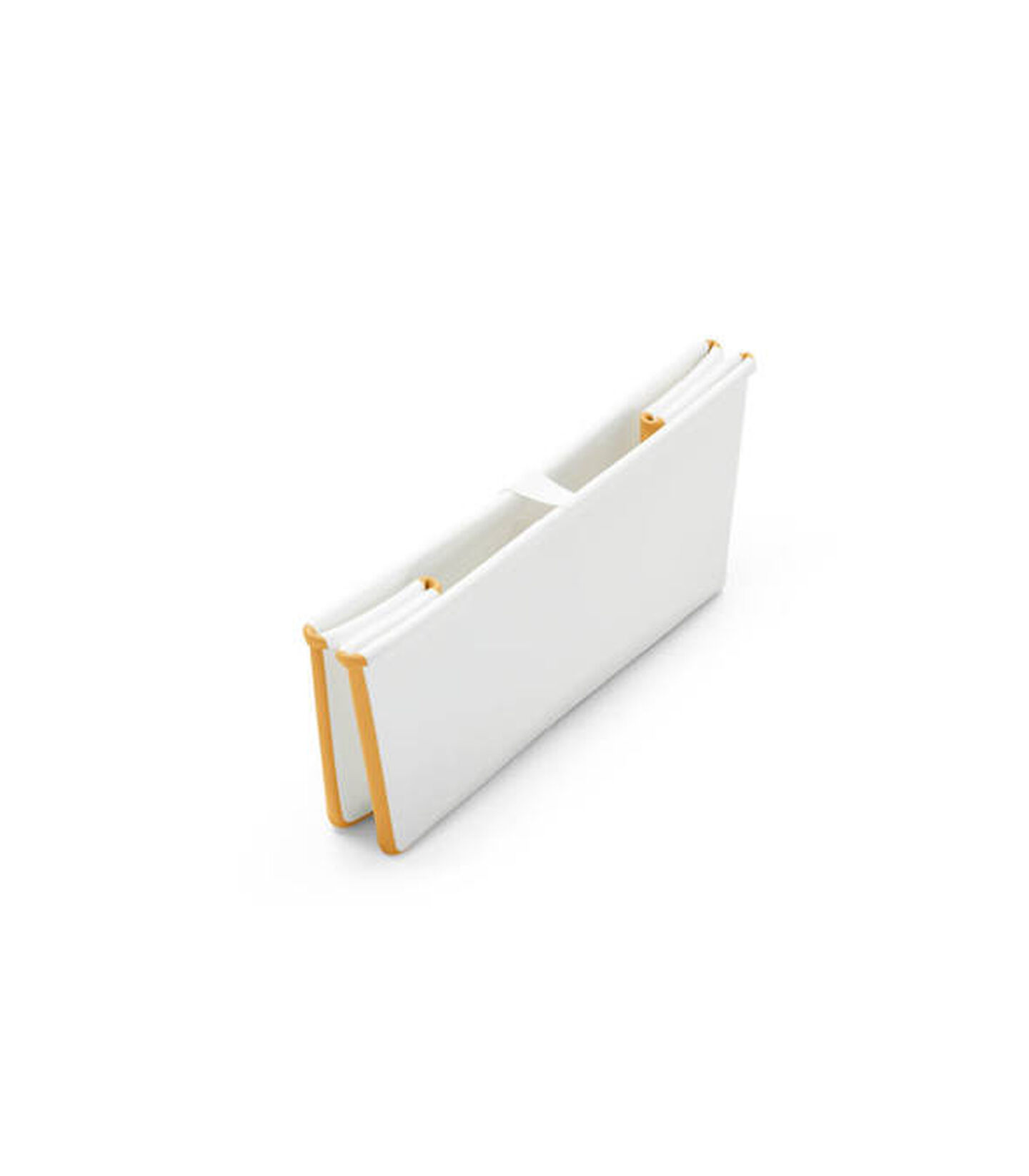 Stokke® Flexi Bath® bath tub, White and Yellow. Folded.