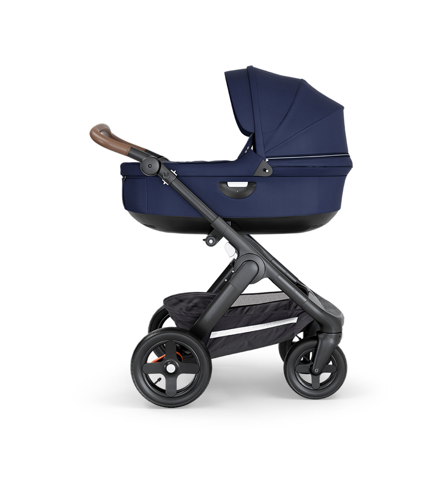 Stokke® Trailz™ with Black Chassis, Brown Leatherette and Terrain Wheels. Stokke® Stroller Carry Cot, Deep Blue.